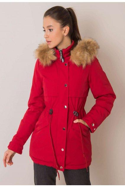 Černo - červená dámská zimní bunda