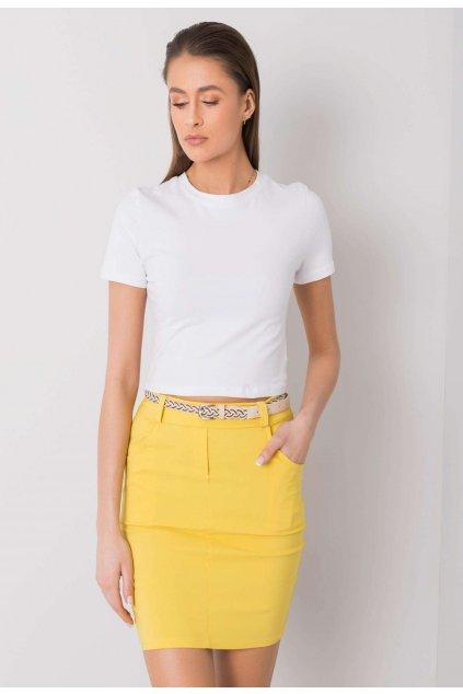 Žlutá dámská pouzdrová sukně