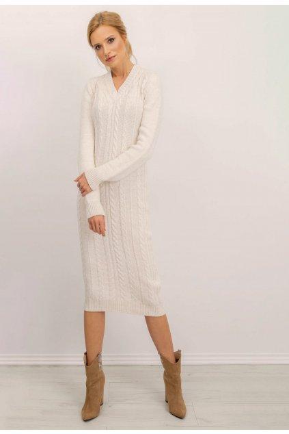 Ecrové dámské pletené šaty