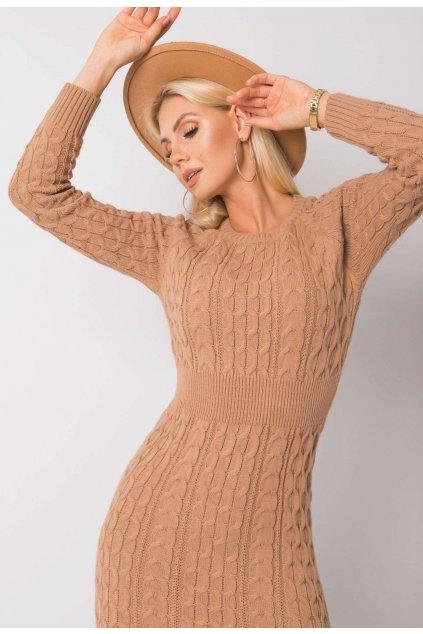 Béžové dámské pletené šaty