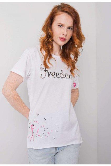 Bílé dámské tričko s potiskem