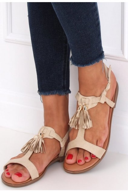 Béžové dámské sandály