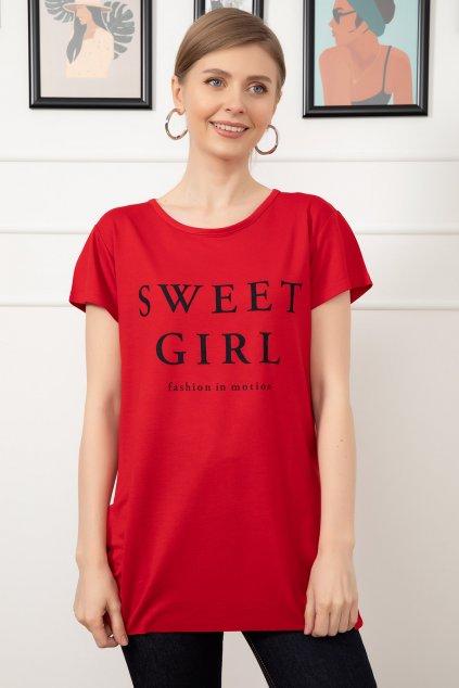 Červené dámské tričko