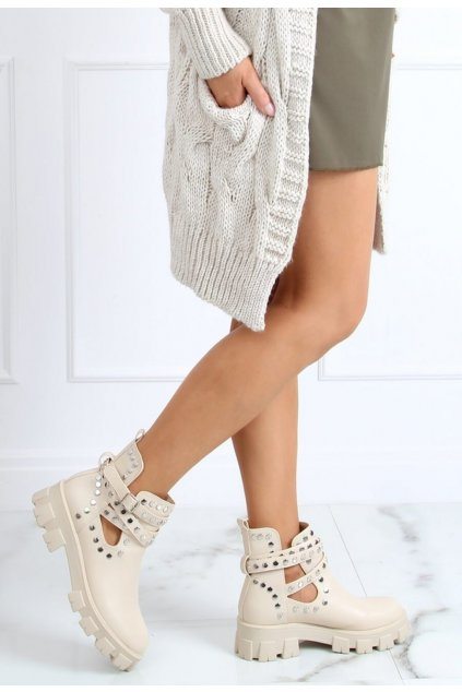 Béžové dámské kotníkové boty