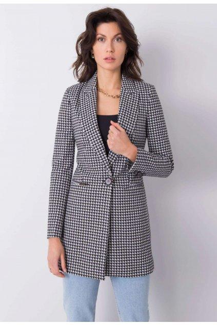 Bílo - černý dámský kabát