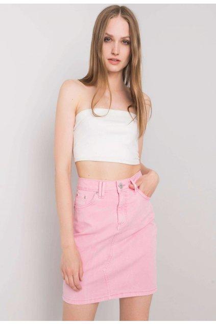 Růžová dámská džínová sukně