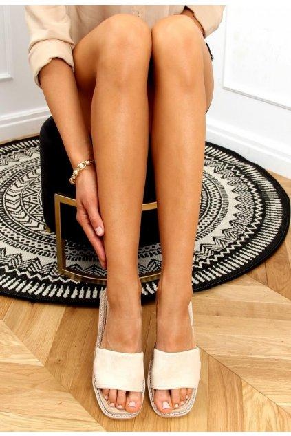 Béžové dámské pantofle