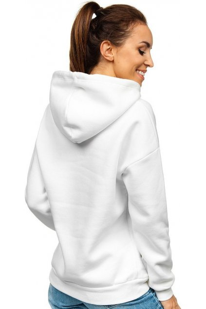 Bílá dámská mikina s kapucí