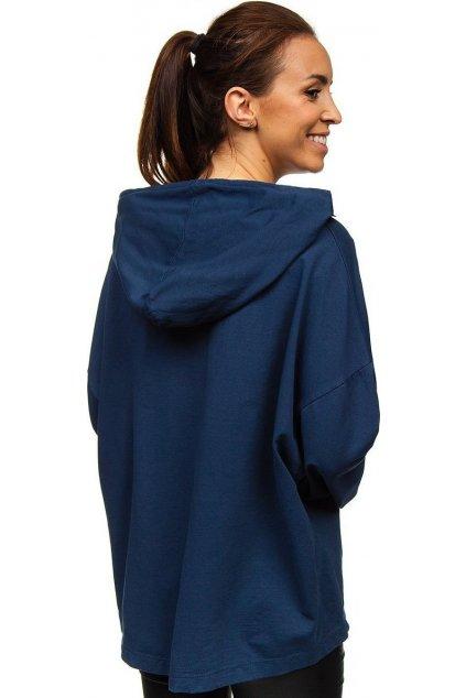 Modrá dámská mikina s kapucí