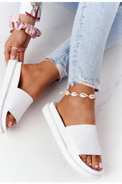 Bílé dámské pantofle