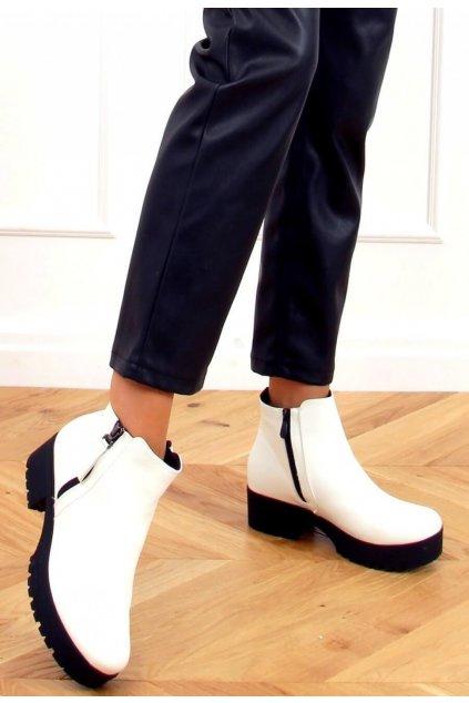Bílé dámské kotníkové boty