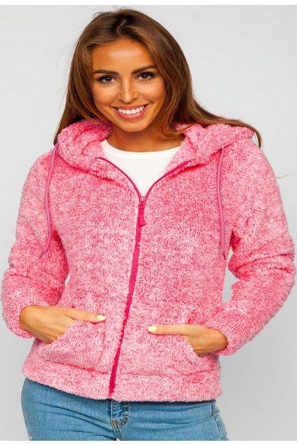 Růžová dámská mikina s kapucí