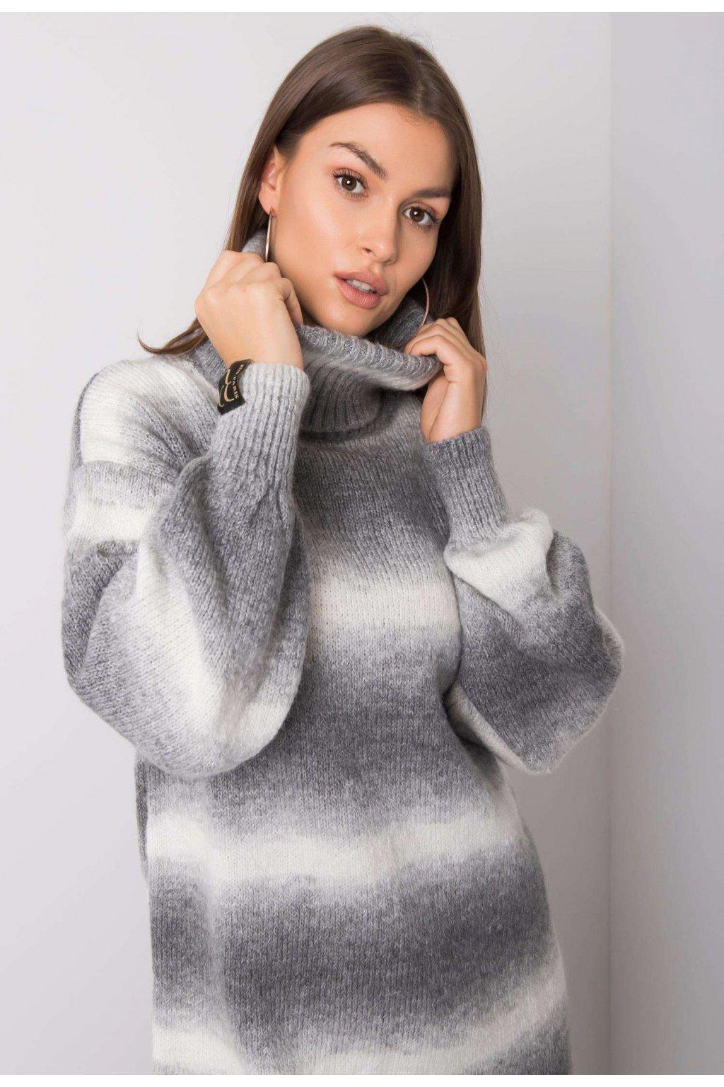 Szürke női magas nyakú szvetter