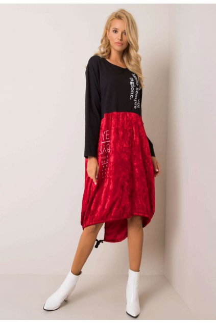 Fekete piros női ruha