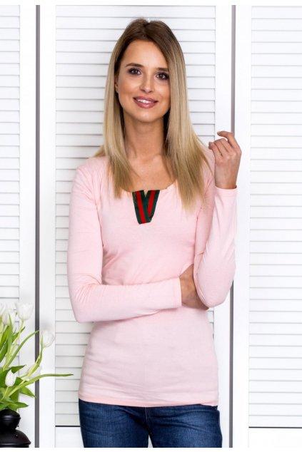 Rózsaszín női hosszú ujjú blúz