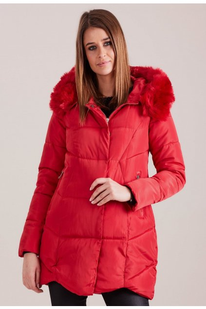 Piros női téli dzseki