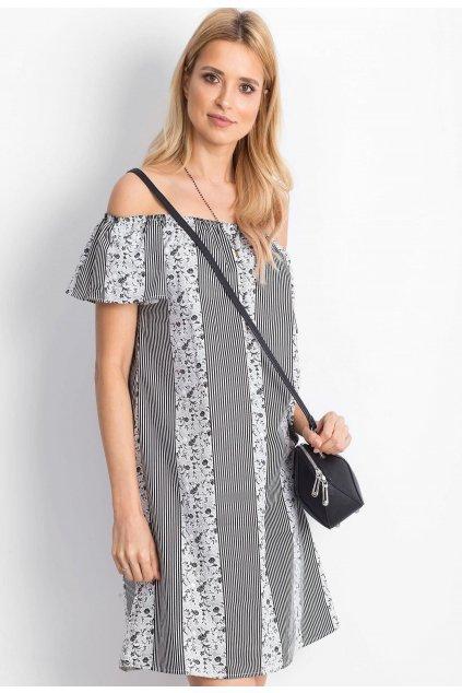 Fehér fekete női boho ruha