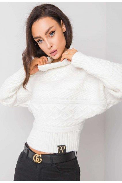 Fehér női magas nyakú szvetter