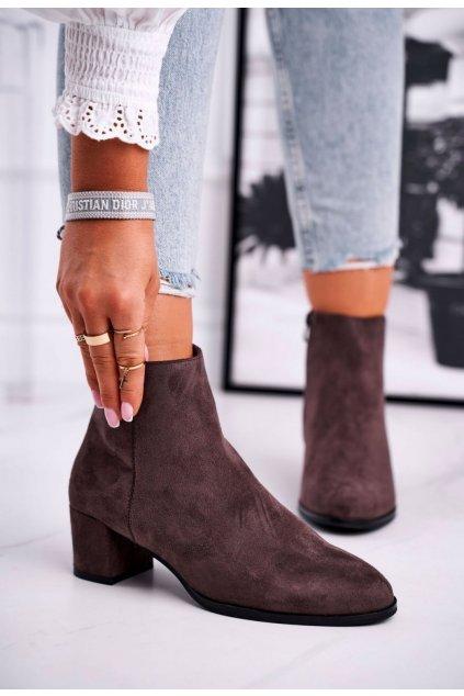 Barna női magasszárú cipő