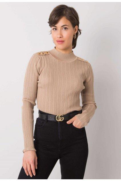 Bézs női magas nyakú szvetter