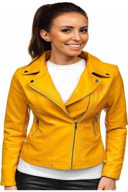 Sárga női műbőrdzseki