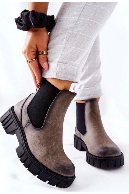 Szürke női magasszárú cipő