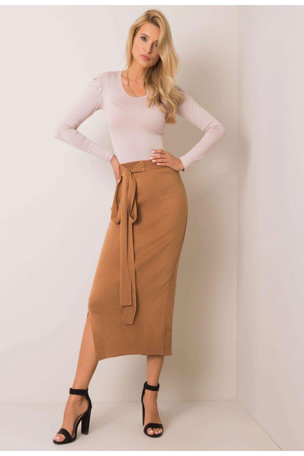 Hnedá dámska pletená sukňa