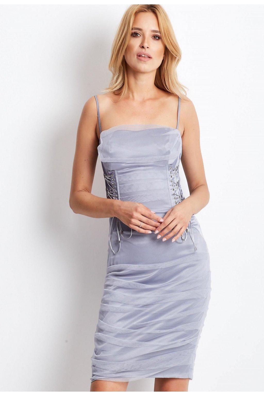 Šedé dámske koktejlové šaty