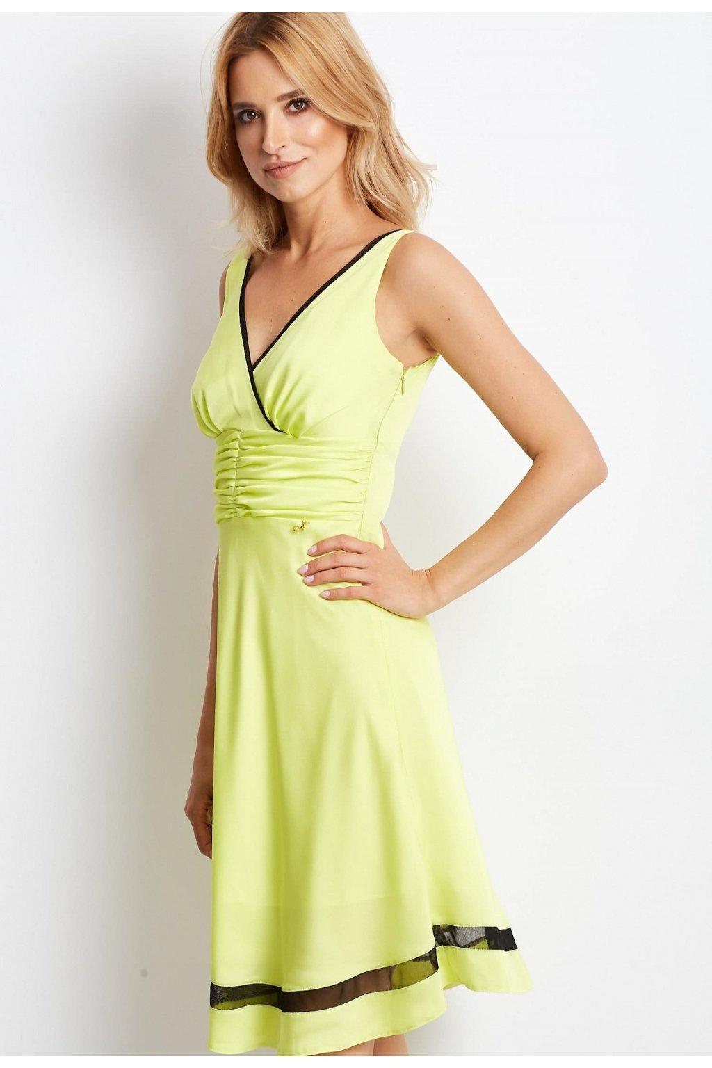 Limetkové dámske koktejlové šaty