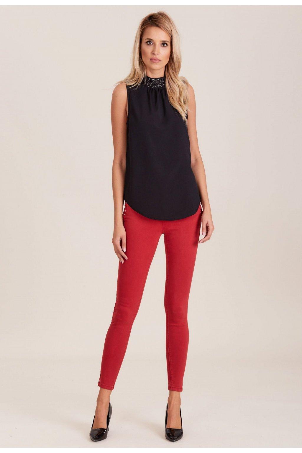 Červené dámske nohavice