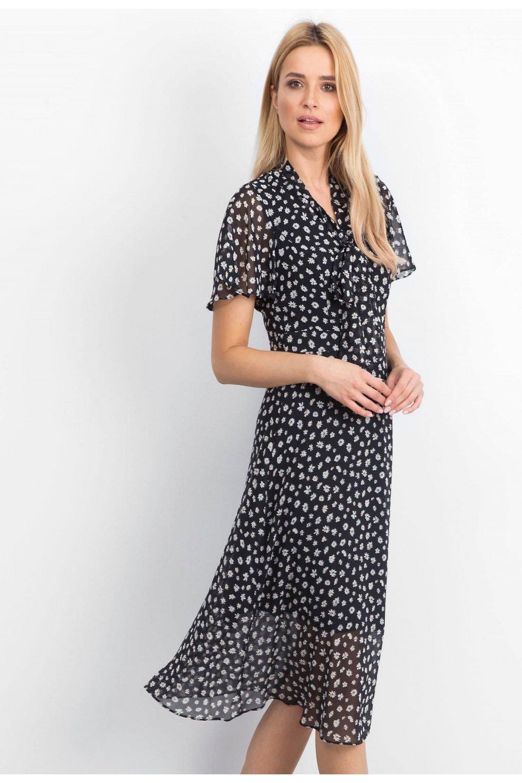 Čierne dámske šaty s potlačou
