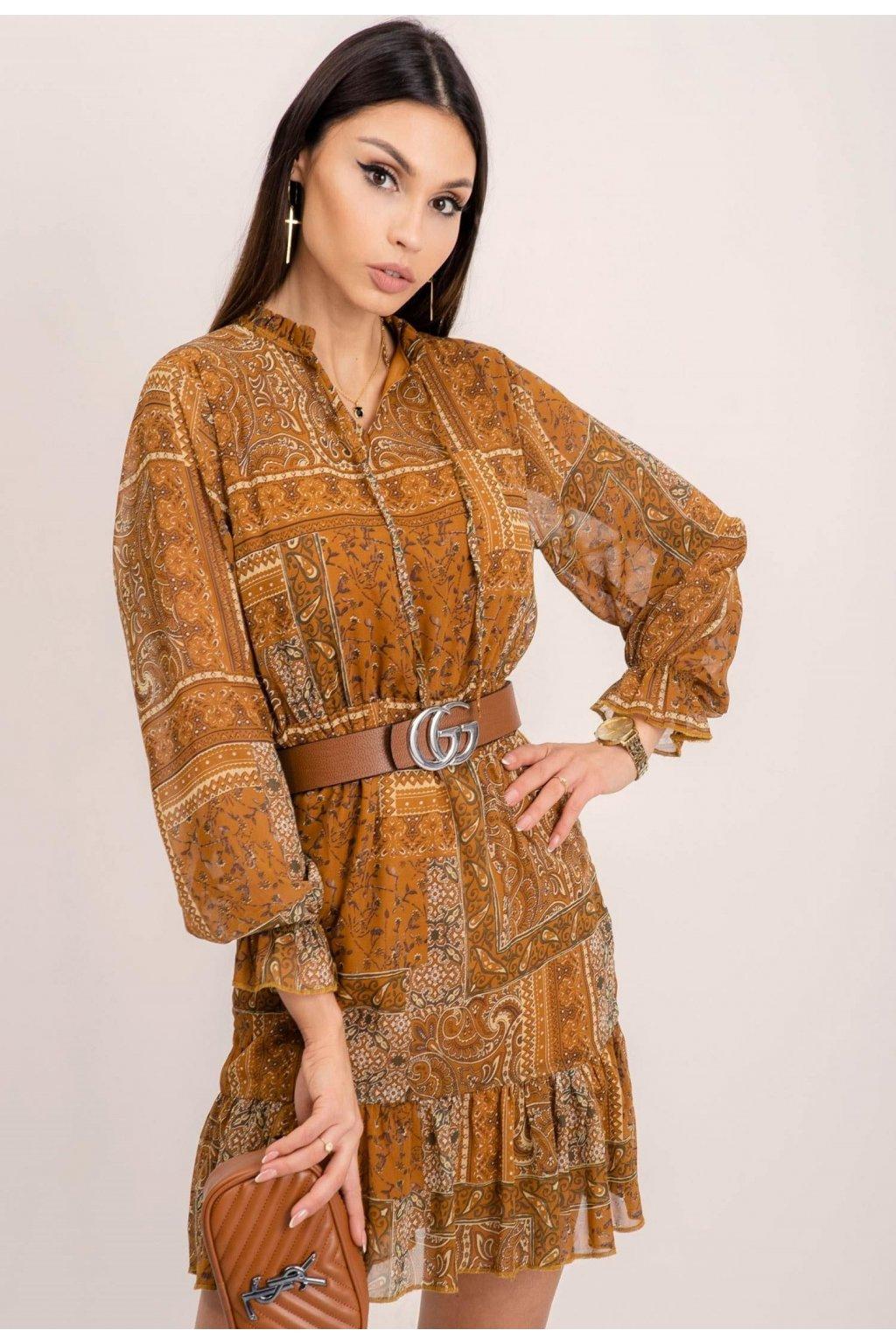 Hnedé dámske šaty s potlačou