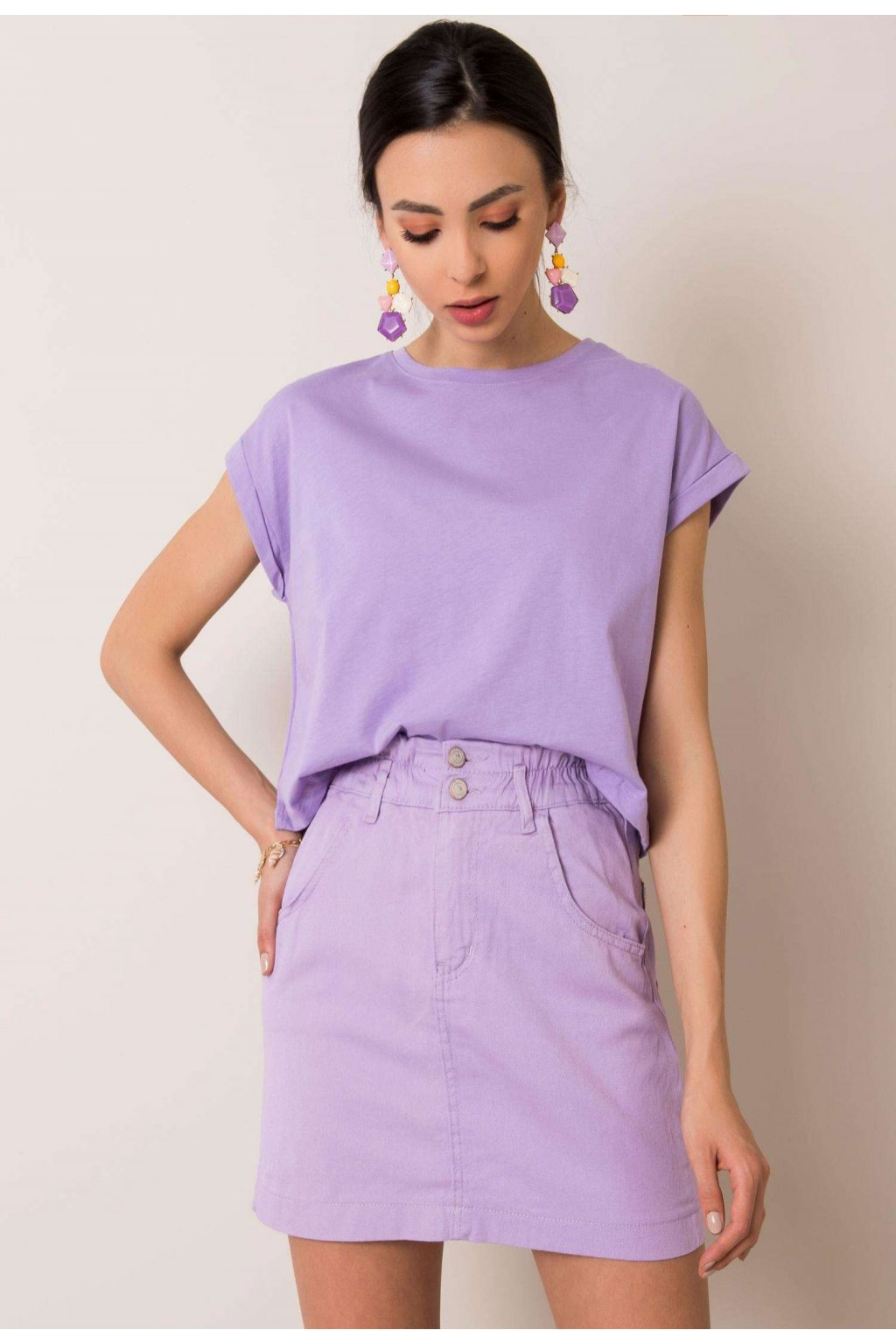 Fialová dámska riflová sukňa