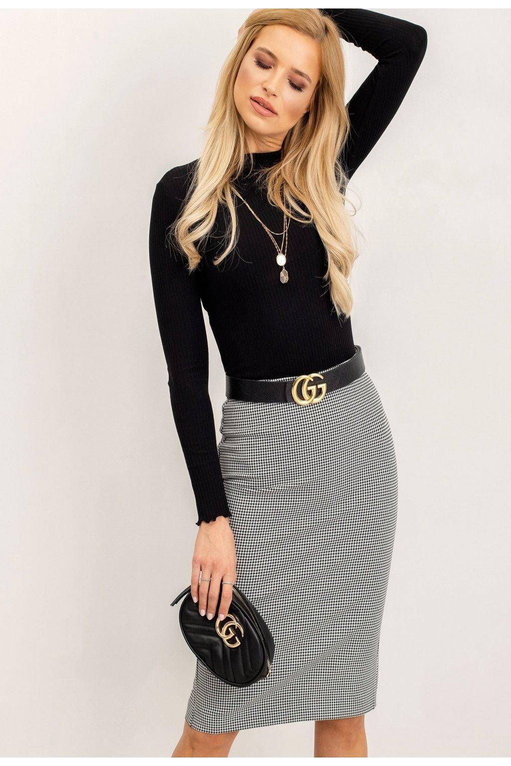 Bielo - čierna dámska puzdrová sukňa