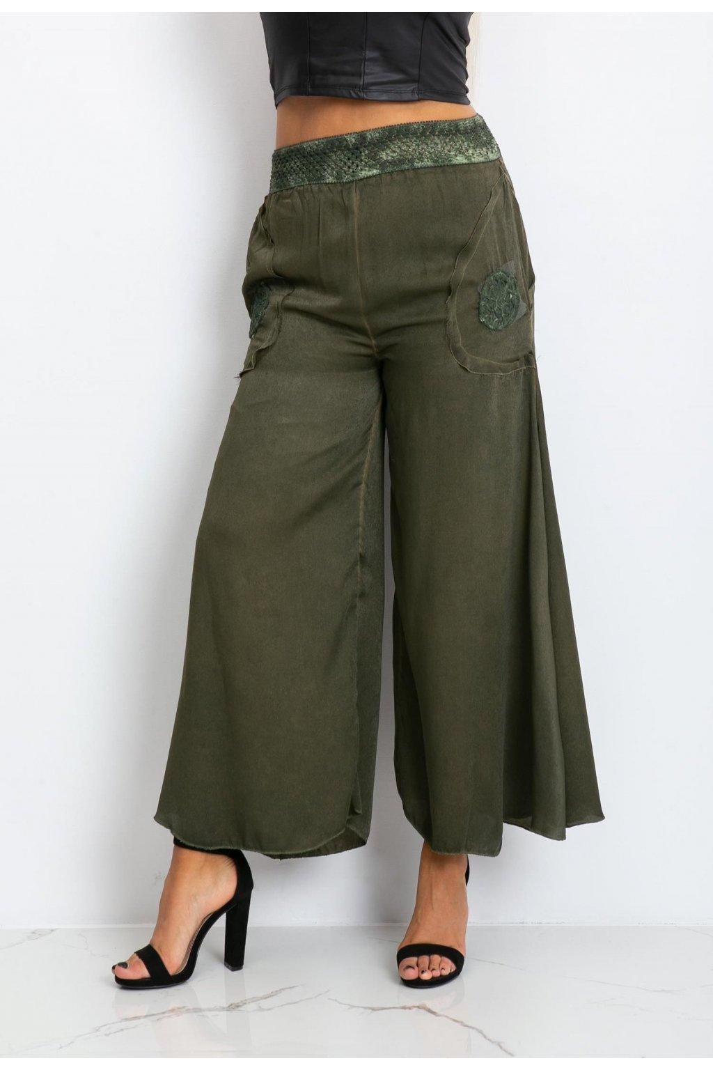 Khaki dámske nohavice
