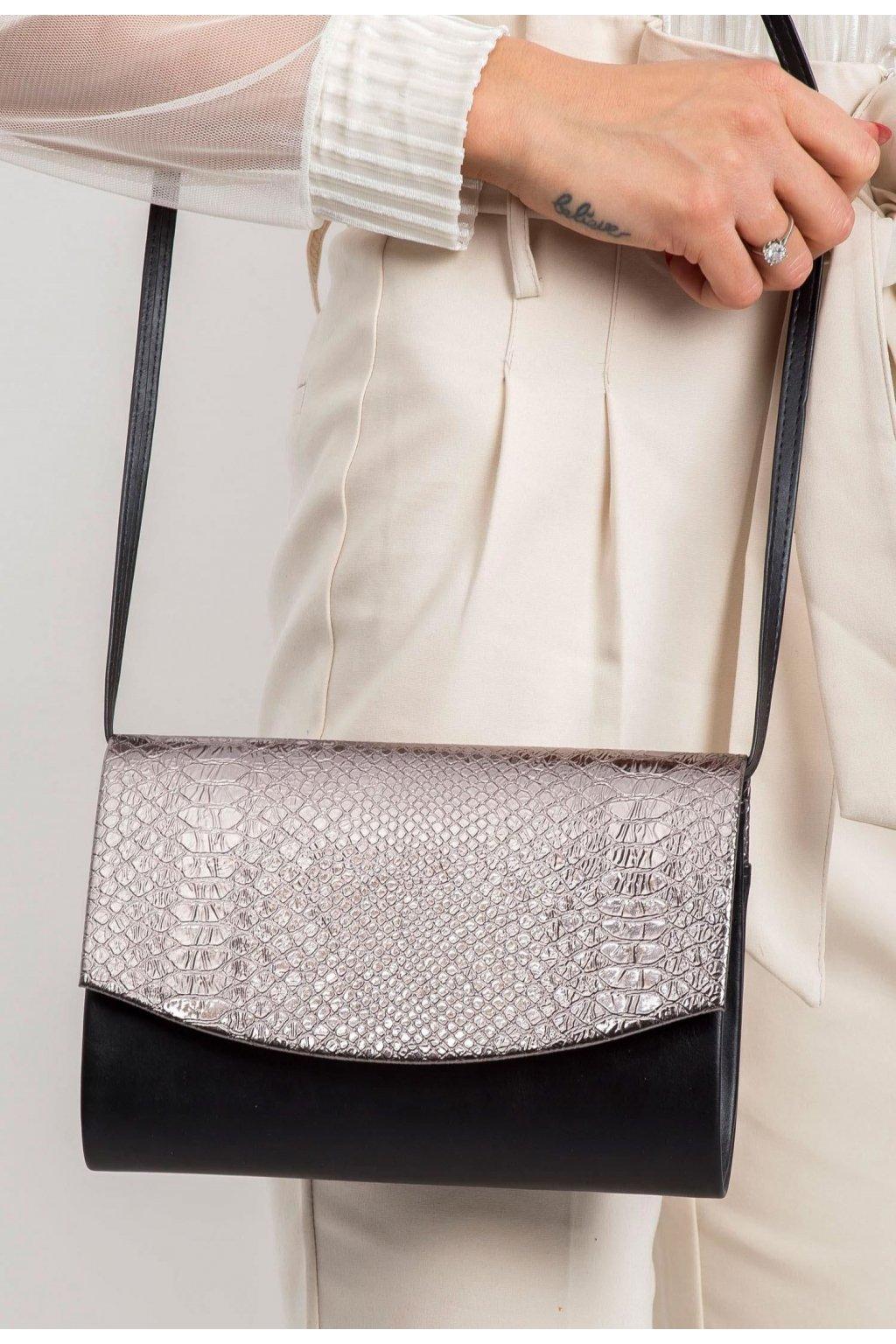 Čierno - strieborná dámska listová kabelka
