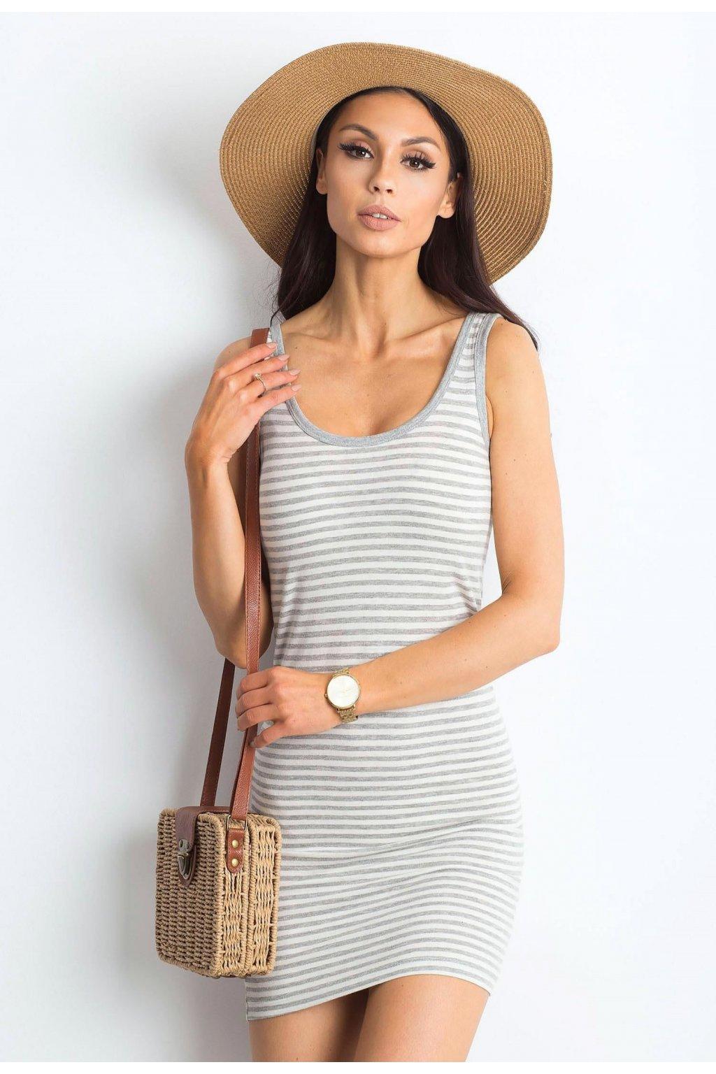 Bielo - šedé dámske šaty