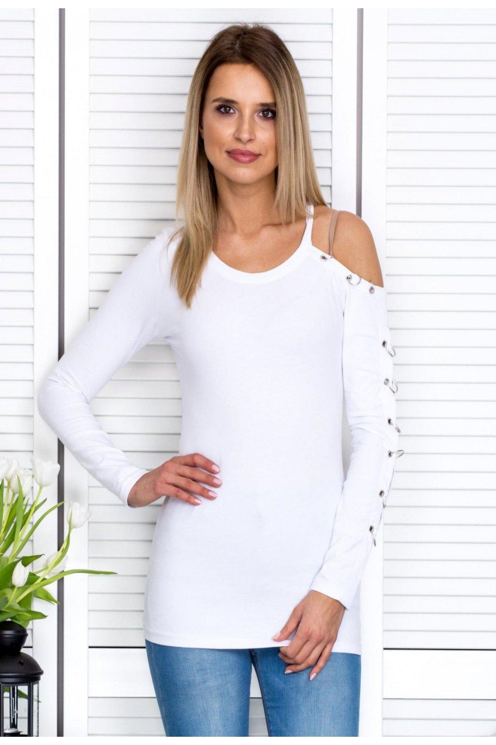 Biela dámska blúzka s dlhým rukávom