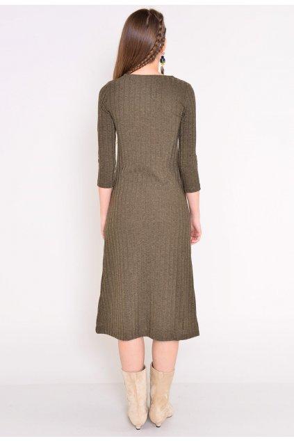 Khaki dámske pletené šaty