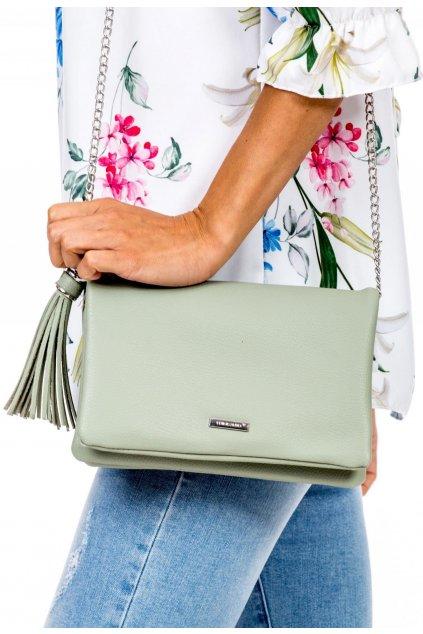 Zelená dámska listová kabelka