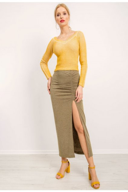 Khaki dámska pletená sukňa