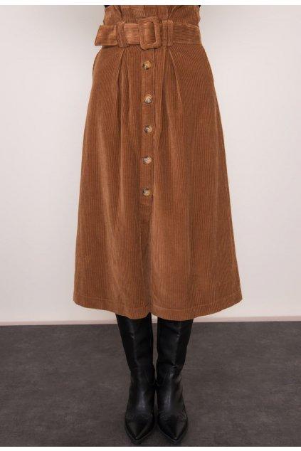 Hnedá dámska sukňa do áčka
