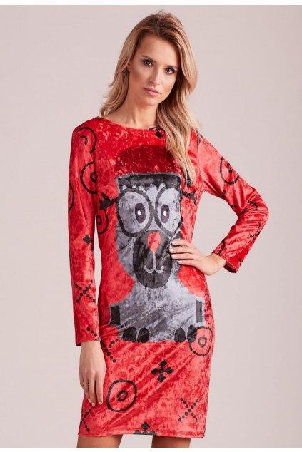 Červené dámske šaty s potlačou
