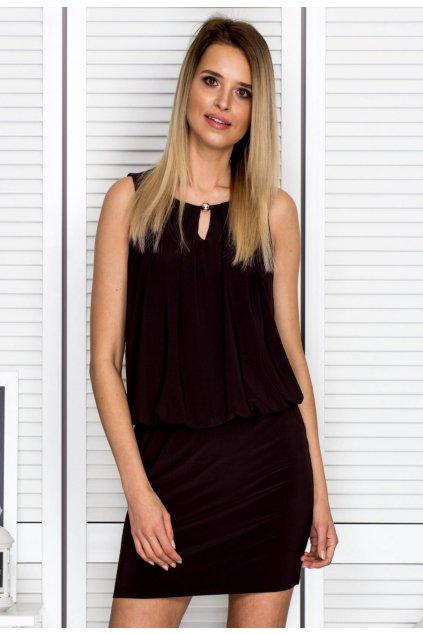 Hnedé dámske koktejlové šaty