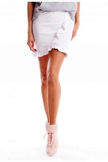 Biela dámska pletená sukňa