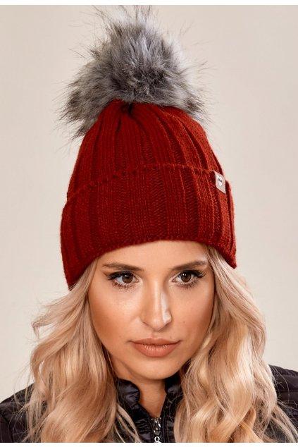 Bordová dámska čiapka