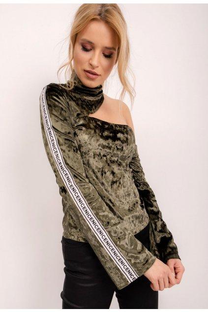 Khaki dámska elegantná blúzka
