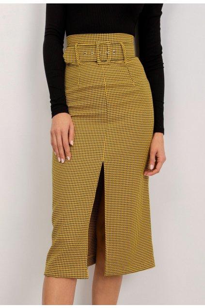 Žltá dámska puzdrová sukňa