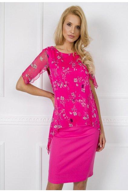 Ružové dámske šaty s potlačou