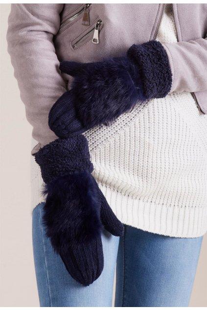 Modré dámske rukavice